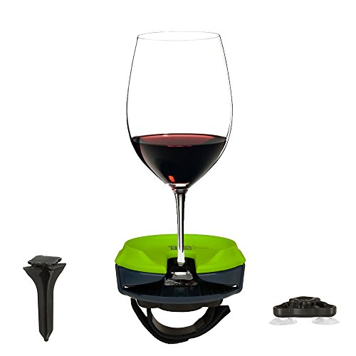 Seattle Outdoor Wine Glass Holder by Bella D'Vine for Stemless & Stemware, Portable for Picnics, Boating, Rv's & Bath or Hot Tubs, 12th Glass Print with Action Green Top