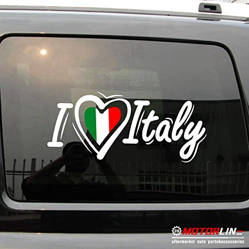 3S MOTORLINE I Love Italy Heart Decal Sticker Italia Italian Flag Car Vinyl no bkgrd (White+Tricolour, 6'' (15.2cm))