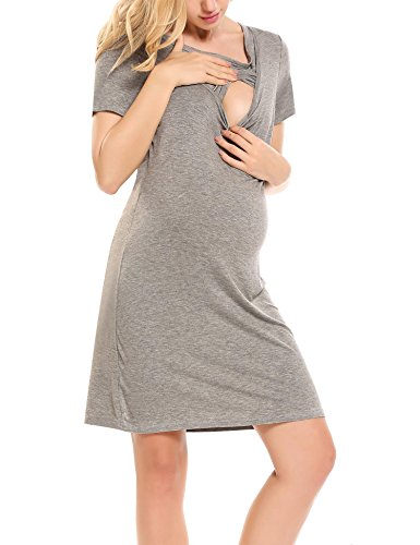Hotouch Labor and delivery Dress - Gift For Maternity/Hospital/Nursing Gray (Nursing Womens Nightgown)