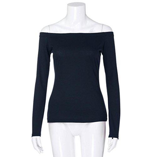 Tunique Bleu Shirt Tops Chemise T Manches Off Guesspower Solide Basique Blouse Chemisier paule Tops Top Femme Chic Couleur Casual Femmes Longues EFEwxqR