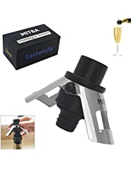 Champagne Stopper by MiTBA – Bottle Sealer for Champagne, Cava, Prosecco & Sparkling Wine with a Built-In Pressure Pump. Let the Cork Fly & Keep Your Fizz's Bubbles! Stainless Steel + ABS, B&S Color.