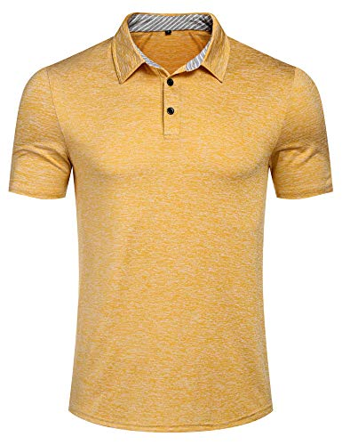 (Mens Athletic Short Sleeve Golf Polo Shirts Soft Cotton Classic Fit T-Shirt Yellow XXL)