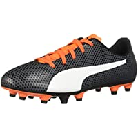 PUMA Kids Spirit Fg Jr Soccer Shoes (Black-White-Orange,2018)
