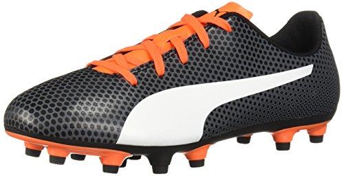 (PUMA Unisex Spirit FG Jr Soccer Shoe, Black White-Shocking Orange, 1 M US Big)