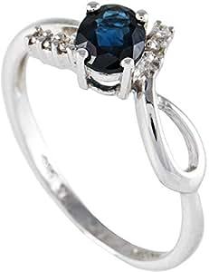 Inspire Jewels Women's 14K White Gold Diamond & Blue Sapphire Ring