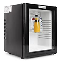 Klarstein 10005440 Frigo de bar silencieux avec porte en verre - Réfrigérateur Minibar design (0dB, 36 litres, classe B) - Châssis acier noir mat