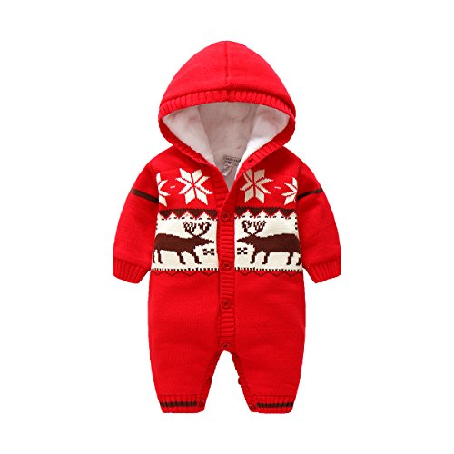 Boarnseorl Baby Boy Girl Clothes Plus Cashmere Fleece Thickening Romper Reindeer Christmas Costume Kintted Sweater Outfit 12-18 Months (Cashmere Layette)