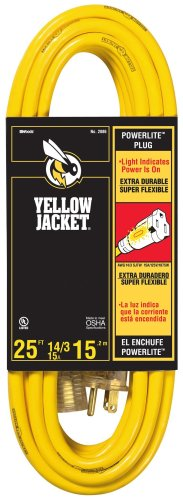 Yellow Jacket 2886 14/3 Heavy-Duty 15-Amp SJTW Contractor Extension Cord with Lighted Ends, 25-Feet by Yellow...