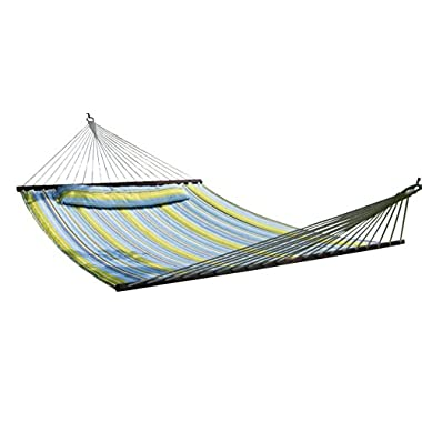 SueSport HC011-B/G Hammock Quilted Fabric with Pillow, Blue/Green