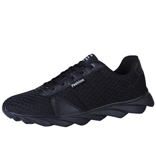JUSTWIN Breathable Mesh Sneaker Men's Flying Woven Lightweight Non-Slip Outdoor Sport Running Shoes Black