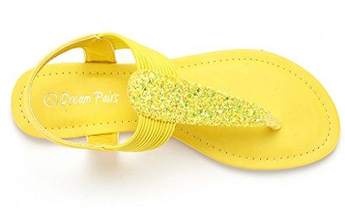 Dream Pairs Spparkly Womens Elastico Strappy Perizoma Cinturino Alla Caviglia Sandali Gladiatore Estate Glitter Giallo