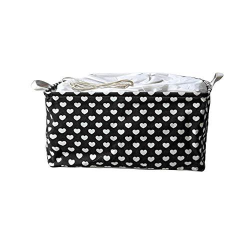 Yiwanjia^∀^ Linen Cotton Waterproof Laundry Clothes Storage Basket Foldable Storage Bins Desktop Debris Organizer PE Coating Storage Box (Black ^∀^)