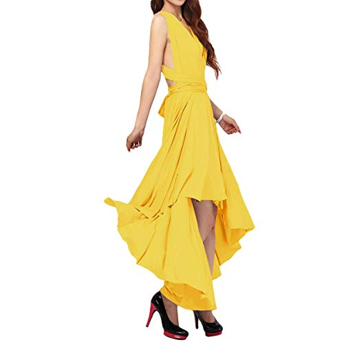 Women's Flowy Transformer Convertible Multi Way Wrap Long Prom Maxi Dress V-Neck Hight Low Wedding Bridesmaid Evening Party Grecian Dresses Backless Halter Formal Cocktail Gown Yellow Hi Low S
