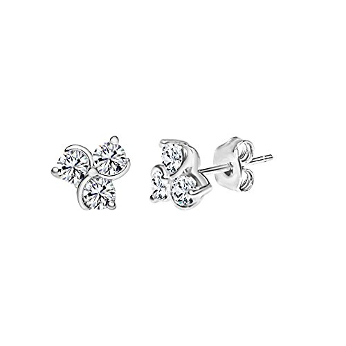 (Solstice Sterling Silver 925 3-Stone Flower Stud Earrings Made with Swarovski Zirconia (5/8 cttw))