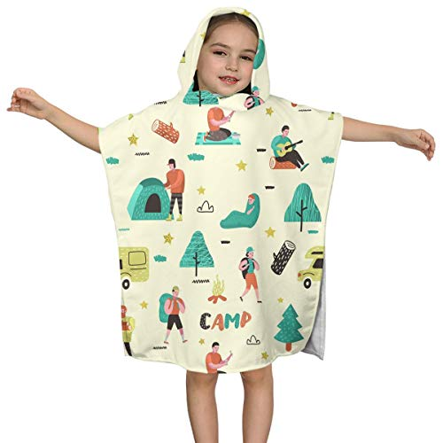 DE Xin Trade Camping Tent Travel Baggage Train Kids Hooded Beach Bath Towel Use for Baby Toddler Boys Bath Pool Swim Poncho Cover-ups for All Seasons Soft Beach 2-7 Years Old Bath Robe Girls