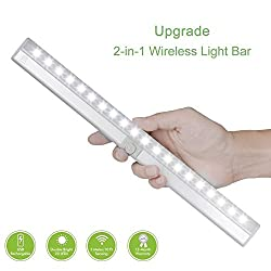 Motion Sensor Closet Lights,20 LED Rechargeable Cabinet Light with Rotated Sensor,Stick-Anywhere Portable 2-in-1 Wireless Light Bar for Hallway, Bathroom, Bedroom, Kitchen,Stairs,Wardrobe(3 Modes)