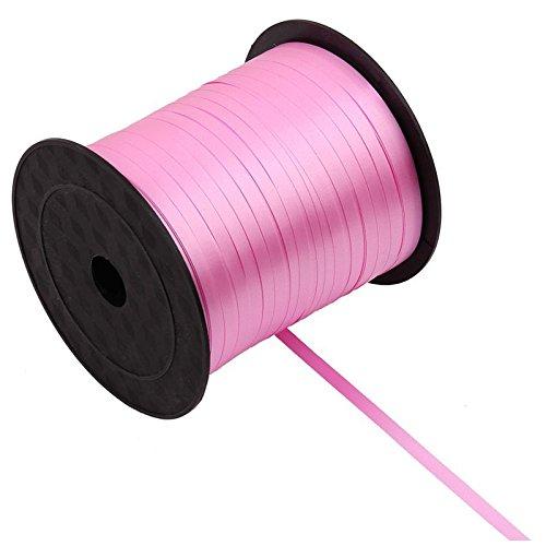 Ribbons - 1 Roll Balloon Ribbon 225m 5mm Pink - Ribbon Ribbon Ballon Gift Foil Jack Shabby Balloon Rope Grosgrain Pink Plastic Organza Satin Silver Green Robot Rayon Curl Velvet ()
