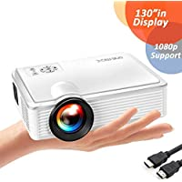 """ONE-MIX 2400 Lumens Mini Video Projector, 130"""" Display Multimedia Home Theater Projector 1080p HD Support, Led Portable Projector for Movie, Game, Outdoor, Laptop, Fire Stick, Xbox, USB, AV,VGA, HDMI"""
