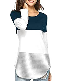 16587c292f84 Tunic,Toimoth Women Daily Casual Short/Long Sleeve Striped Patchwork  Stretchy Tops Blouse T