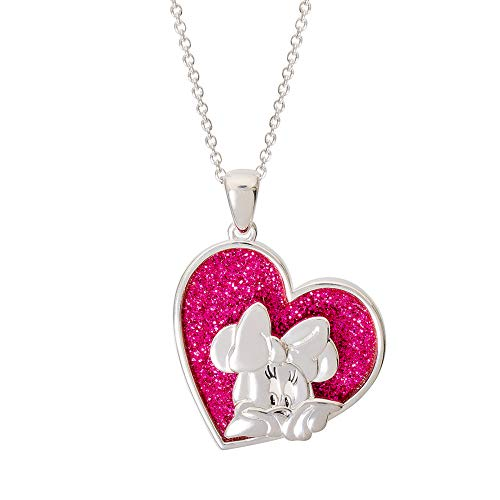 Disney Minnie Mouse Jewelry for Women, Silver Plated Minnie Mouse Glitter Pendant Necklace, Mickey's 90th Birthday Anniversary, 18