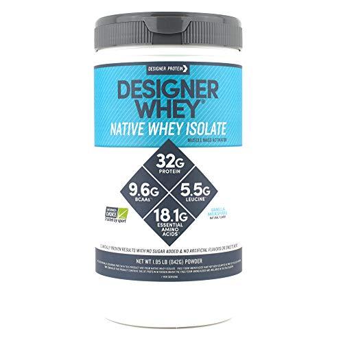 Designer Whey Native Whey Isolate, Vanilla Milkshake, 1.85 Pound, Protein Powder