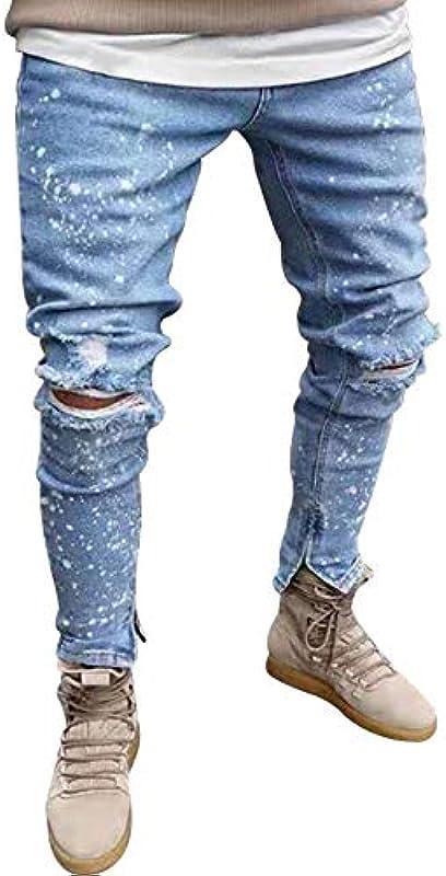 Bestgift Męskie Baumwolle Rissen Löcher Ausgefranst Jeans Hellblau S: Odzież