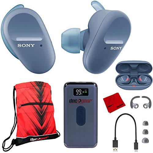 Sony WF-SP800N Wireless Noise Canceling Earbud Headphones (Blue) w/Deco Gear Bundle