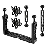 XT-XINTE CNC Scuba Diving Underwater Light Arm System Triple Clamp Tray Bracket Handle Grip Stabilizer Rig for Video Sport DSLR Cam Torch (with 2 Joint arms)