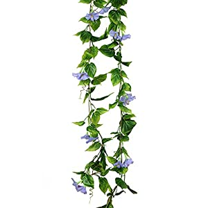 Yatim 13ft Morning Glory Garland Pack of 2 Foliage Simulation Silk Flowers For Home Room Hotel Office Garden Wedding Garland Outside Decoration 31