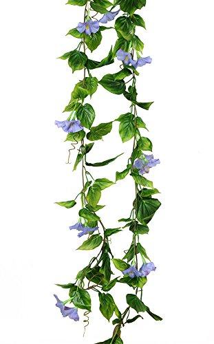 2PCS(13FT) Fake Morningglory Vine Garland Artificial Flowers plants for Hotel Wedding Home Party Garden Craft Art Decor Blue