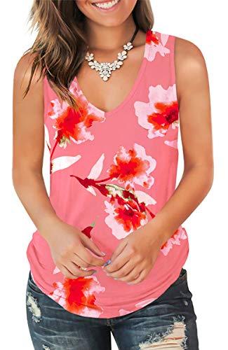 Jescakoo Funny Summer Shirts for Women Deep V Neck Floral Printed Tank Tops Rose L ()