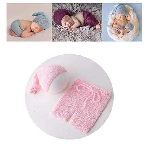 Vemonllas Fashion Cute Newborn Boy Girl Baby Costume Outfits Photography Props Hat Pants (Pink)
