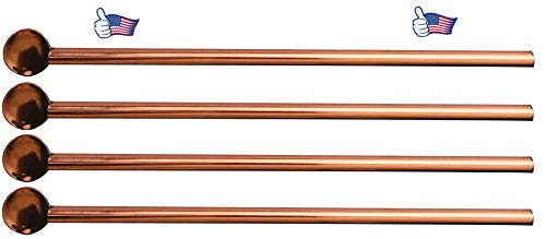 """CopperSip Premium quality 100% Pure Copper straws 8.5"""" (spoon straws- Set of 4) with handmade carry bag and cleaning brush (9.25"""")"""