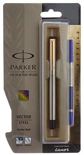- Parker Vector Steel GT Roller Ball Point Pen - Gold Trim