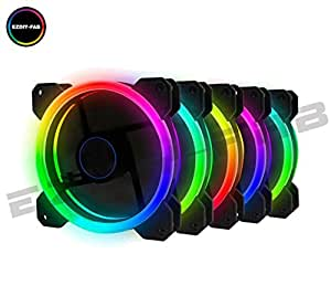 EZDIY-FAB Wireless RGB LED 120mm Case Fan,Quiet Edition High Airflow Adjustable Color LED Case Fan for PC Cases, CPU Coolers,Radiators system,5-PACK