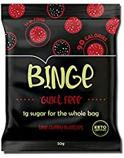 BINGE Low Sugar Sour Cherry Blasters Candy - 1g Sugar, 11g Net Carbs, 90 Calories - Low Sugar Candy - Low Calorie Keto Snack - Plant-Based - High in Fibre - Low in Net Carbs - Keto Certified - Naturally Flavoured Cherry Blasters - Box of 6