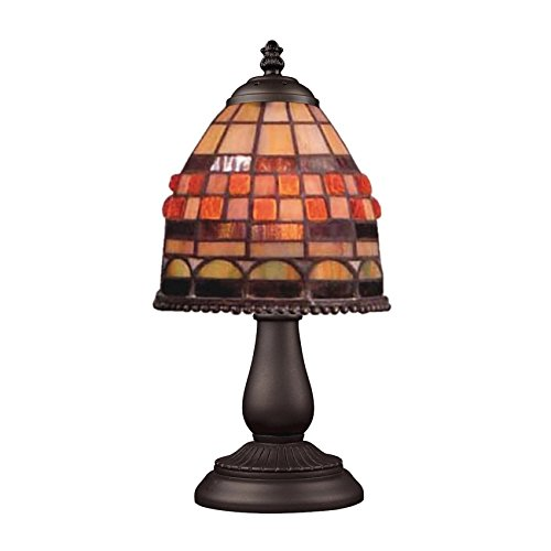 Jewelstone 1 Light - Elk 080-Tb-10 Mix And Match Jewelstone Tiffany Table Lamp, Bronze