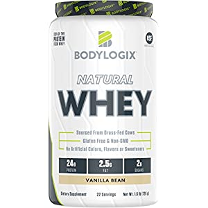 Bodylogix Natural Grass-Fed Whey Protein Powder, NSF Certified, Vanilla Bean, 1.6 Pound