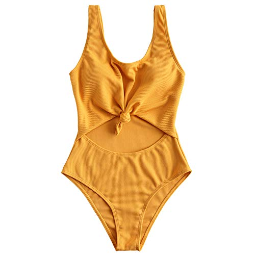 ZAFUL Women's Tie Knot Front Ribbed High Waisted Cut Out One Piece Swimsuit (Golden Brown, S)