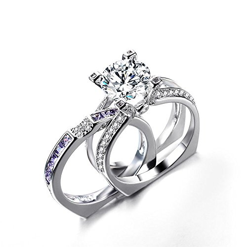 Top Round Separable - A.Minnymin 2 in 1 Round Cut CZ Separable Wedding Engagement Ring 10KT White Gold Filled (Purple) (6)
