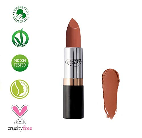 PuroBIO Certified ORGANIC High-pigmented and Long-Lasting Semi-Matte Lipstick with Castor oil, Vitamins and Antioxidants 01 NUDE PEACH. ORGANIC.VEGAN.NICKEL TESTED, MADE IN ITALY 3.5g