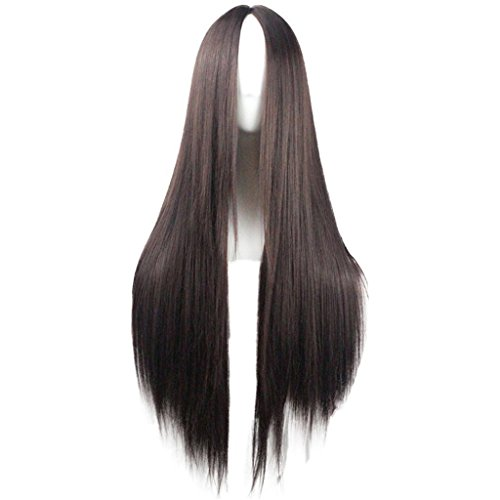 Flonding 75cm 29.5 inches Dark Brown Wig Women's Long Straight Middle Part Synthetic Hair Wigs No bangs Cosplay Anime Halloween Costume Party Hair Wig for Women with Wig Cap -