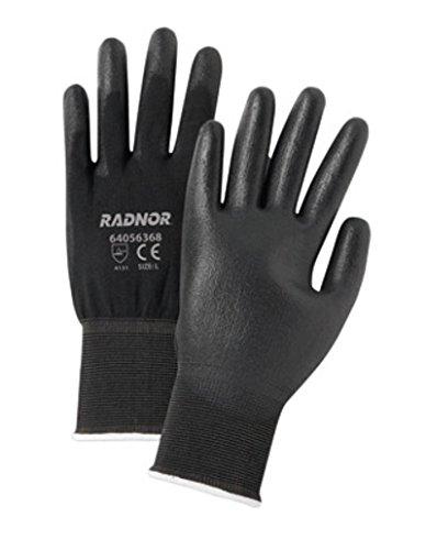 Radnor Large Black Economy Polyurethane Palm Coated Gloves With Seamless 13 Gauge Nylon Knit Liner