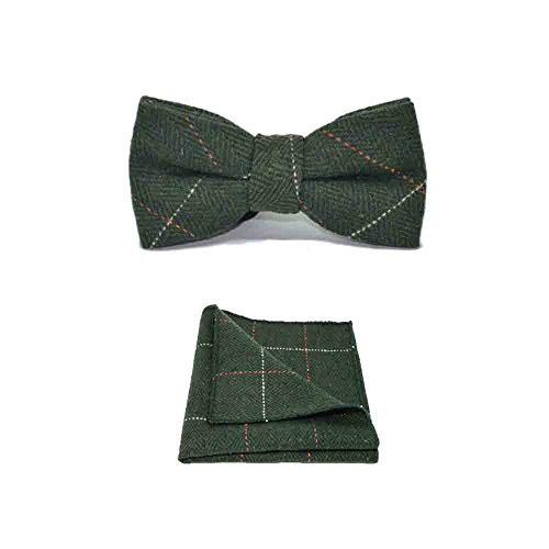 Bow Herringbone - Luxury Herringbone Forest Green Tweed Bow Tie & Pocket Square Set