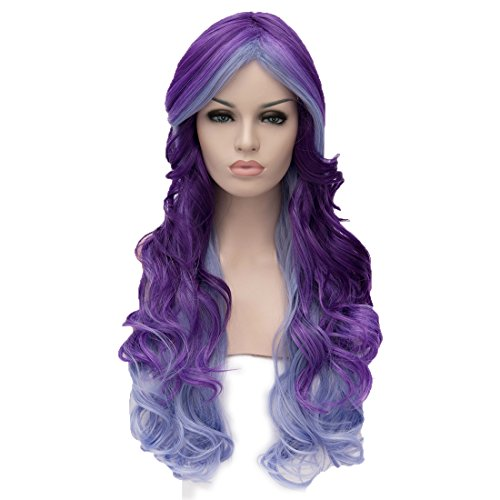 Alacos 70cm Long Heat Resistant Hair Multicolored Cosplay Wigs for Women+ Wig Cap (Purple Blue) (Grandma Halloween Costume Ideas)
