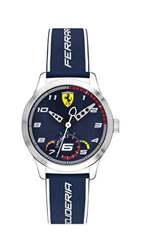 Ferrari Boy's Pitlane Quartz Stainless Steel and Silicone Strap Casual Watch, Color: Blue (Model: 860005)