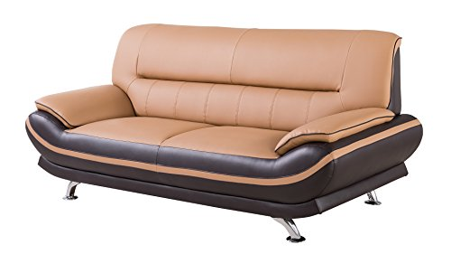American Eagle Furniture Upholstered Leather Sofa with Added Base Support and Pillow Top Armrests, Yellow/Brown from American Eagle Furniture