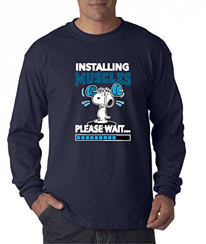 - New Way 433 - Unisex Long-Sleeve T-Shirt Installing Muscles Please Wait Snoopy Peanuts Workout Training Gym Small Navy