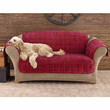 Quilted Suede Loveseat Slipcover (Sure Fit Deluxe Pet Cover  - Loveseat Slipcover  - Burgundy)