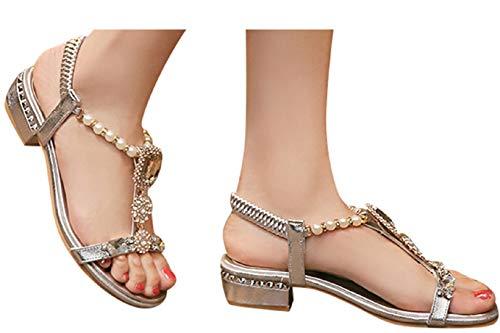 Fainosmny Sandals Womens Bohemia Shoes Low Heel Open Toe Sandals Fashion Rhinestone Elastic Band Sandals Summer Beach Shoes Silver